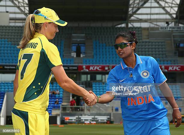 Meg Lanning of Australia and Mithali Raj of India are seen at the coin toss prior to game three of the one day international series between Australia...