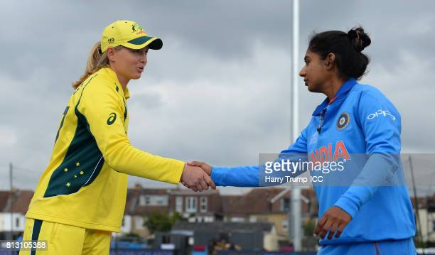 Meg Lanning of Australia and Mithali Raj of India shake hands during the ICC Women's World Cup 2017 match between Australia and India at The County...