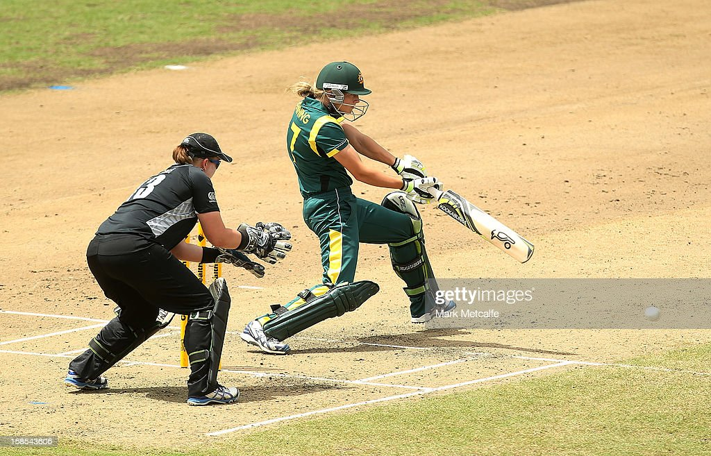 Meg Lanning of Australia bats during game four of the one day international series between the Australian Southern Stars and New Zealand at North Sydney Oval on December 19, 2012 in Sydney, Australia.
