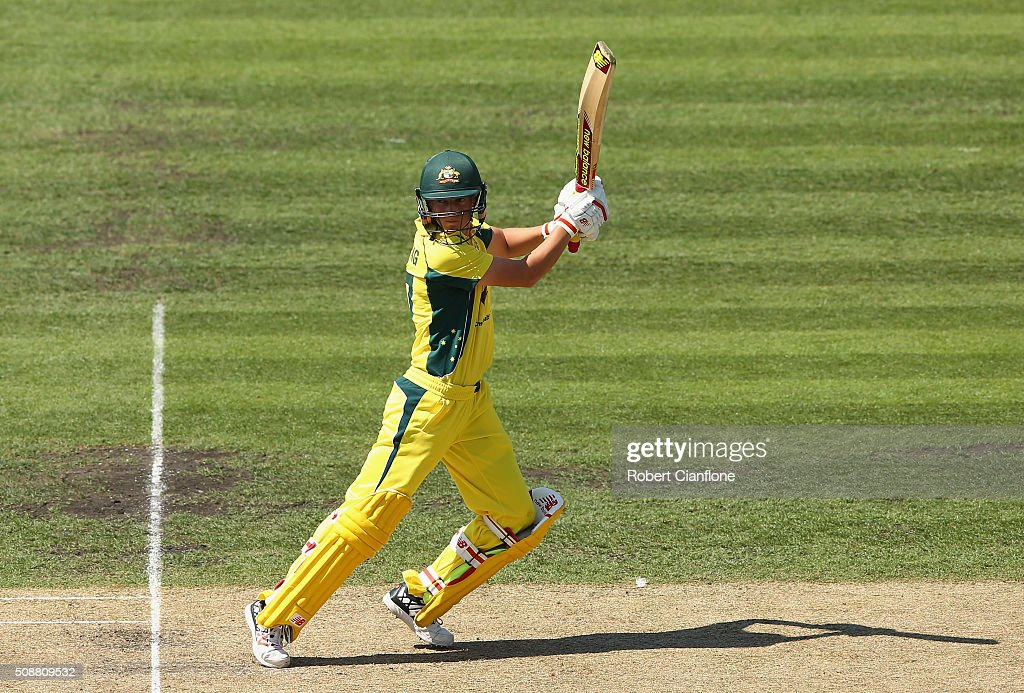 <a gi-track='captionPersonalityLinkClicked' href=/galleries/search?phrase=Meg+Lanning&family=editorial&specificpeople=5656168 ng-click='$event.stopPropagation()'>Meg Lanning</a> of Australia bats during game three of the one day international series between Australia and India at Blundstone Arena on February 7, 2016 in Hobart, Australia.