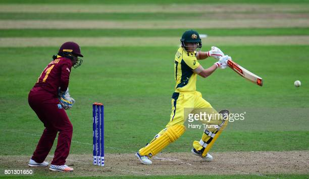 Meg Lanning of Australia bats during the ICC Women's World Cup 2017 match between Australia and West Indies at The Cooper Associates County Ground on...