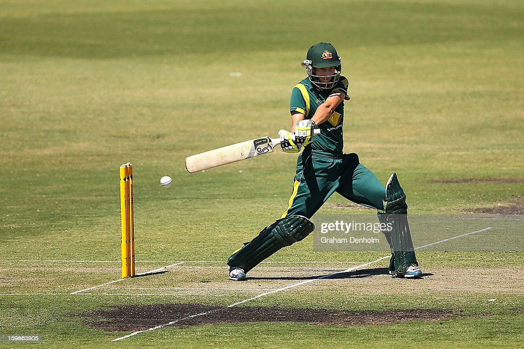 Meg Lanning of Australia bats during the Women's International Twenty20 match between the Australian Southern Stars and New Zealand at Junction Oval on January 22, 2013 in Melbourne, Australia.