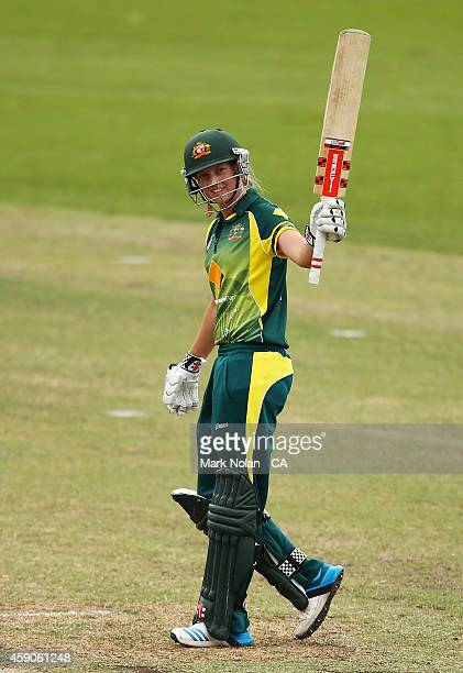 Meg Lanning of Australia celebrates after scoring a century during the Women's One Day International match between Australia and the West Indies on...
