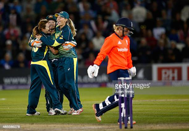 Meg Lanning of Australia celebrates catching out Danielle Hazell of England off the bowling of Sarah Coyte of Australia during the 2nd NatWest T20 of...