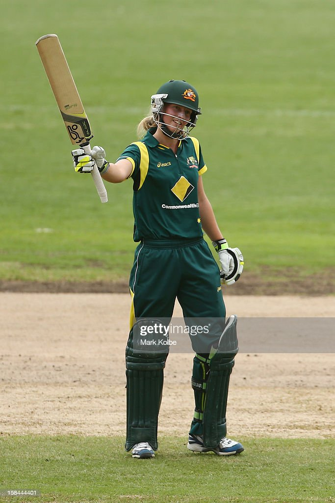 Meg Lanning of Australia celebrates scoring her century during game three of the One Day International series between the Australian Southern Stars and New Zealand at North Sydney Oval on December 17, 2012 in Sydney, Australia.