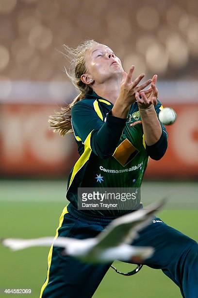 Meg Lanning of Australia drops a difficult catch during game 2 of the Australia v England Women's one day international series January 23 2014 in...