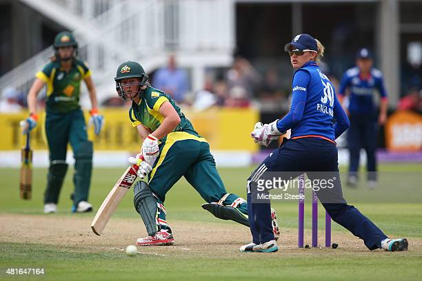 Meg Lanning of Australia sweeps to fine leg off the bowling of Heather Knight as wicketkeeper Sarah Taylor looks on during the 2nd Royal London ODI...