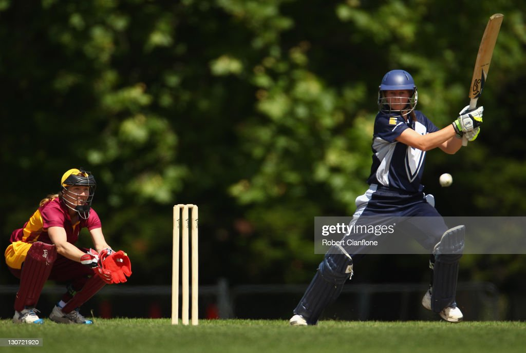 Meg Lanning of the Spirit bats during the WNCL match between the Victoria Spirit and the Queensland Fire at Harry trott Oval on October 29 2011 in...