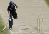 Meg Lanning of the Spirit just makes it into the crease as the ball hits the wicket during the WNCL Twenty20 match between the Wolfblass Breakers and...