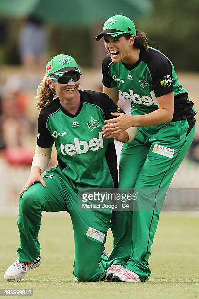 Meg Lanning of the Stars and Gemma Triscari celebrate their win during the Women's Big Bash League match between the Melbourne Stars and the Brisbane...
