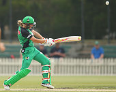 Meg Lanning of the Stars hits a six during the Women's Big Bash League match between the Brisbane Heat and the Melbourne Stars at Junction Oval on...