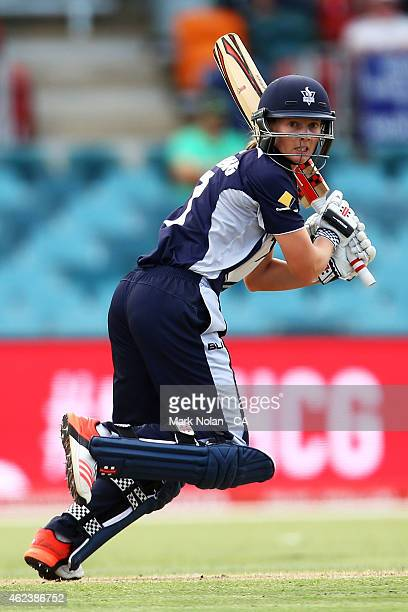 Meg Lanning of Victoria bats during the Women's Twenty20 final match between New South Wales and Victoria at Manuka Oval on January 28 2015 in...