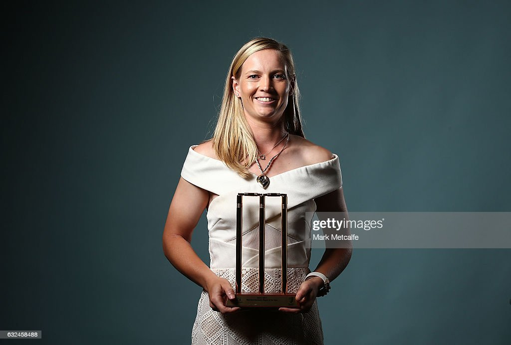 Meg Lanning poses after winning the Belinda Clark Award and the Women's Domestic Player of the Year award during the 2017 Allan Border Medal at The Star on January 23, 2017 in Sydney, Australia.