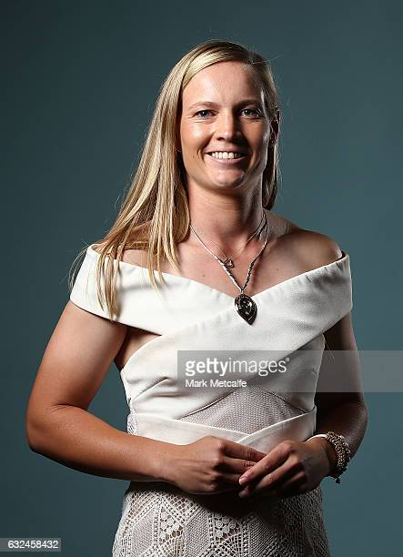 Meg Lanning poses after winning the Belinda Clark Award during the 2017 Allan Border Medal at The Star on January 23 2017 in Sydney Australia