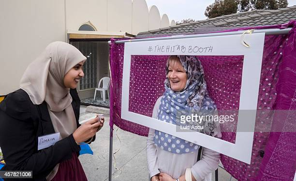 Meg Loveless poses in a Hijab booth on National Mosque open day at the Werribee Islamic Centre in the suburb of Hoppers Crossing on October 25 2014...