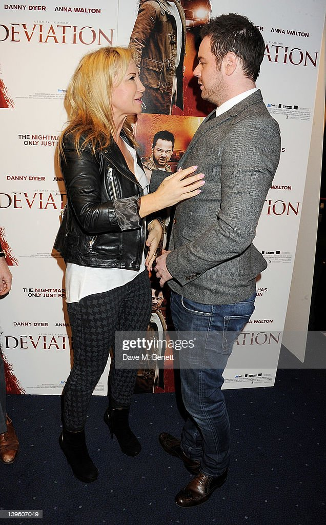 Meg Mathews (L) and Danny Dyer attend the World Premiere of 'Deviation' at Odeon Covent Garden on February 23, 2012 in London, England.