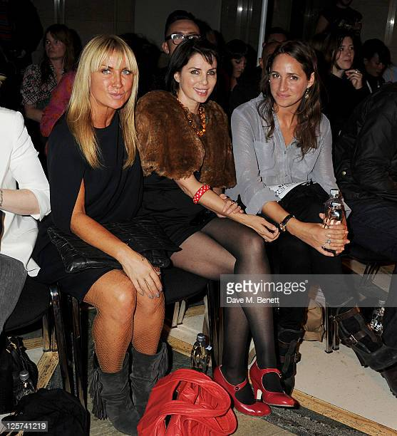 Meg Mathews Sadie Frost and Rose Ferguson sit in the front row at the James Small Menswear Spring/Summer 2012 runway show during London Fashion Week...