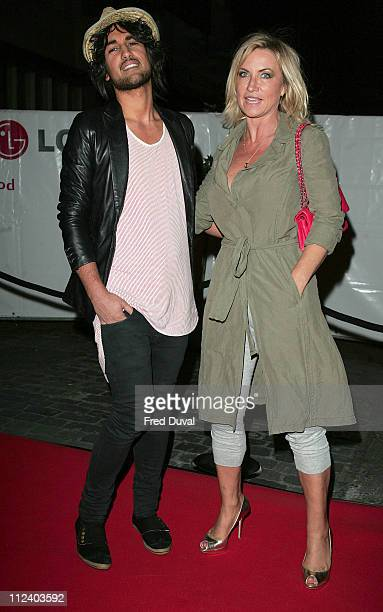 Meg Matthews and guest during LG Party Outside Arrivals at The Old Truman Brewery in London Great Britain