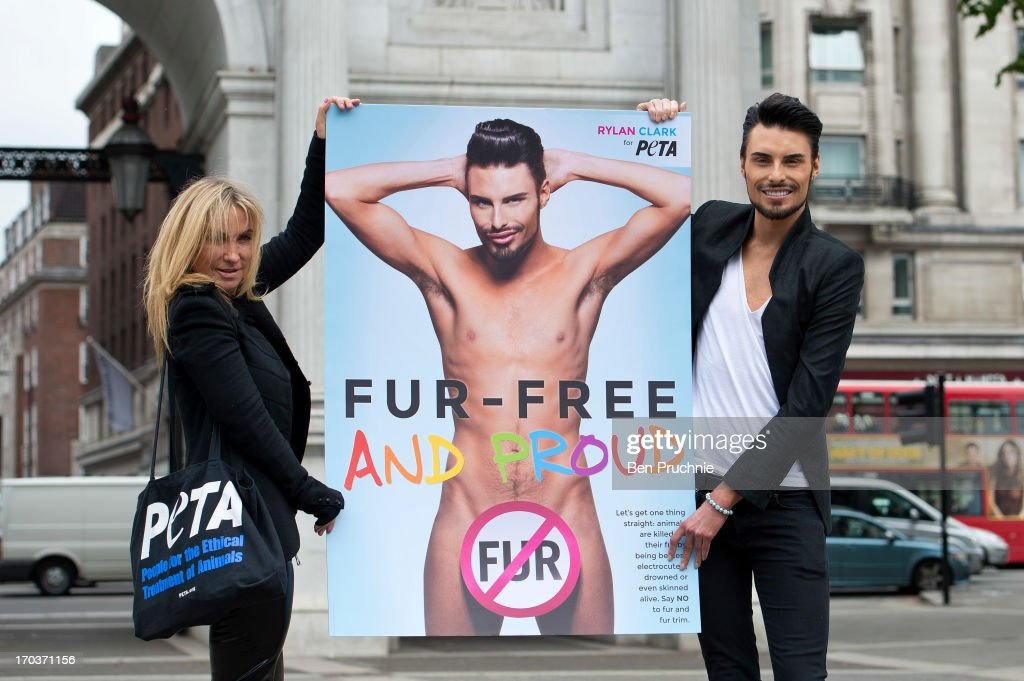 Meg Matthews and Rylan Clark attend a photocall to launch his new anti fur advert in support of PETA at Marble Arch on June 12, 2013 in London, England.