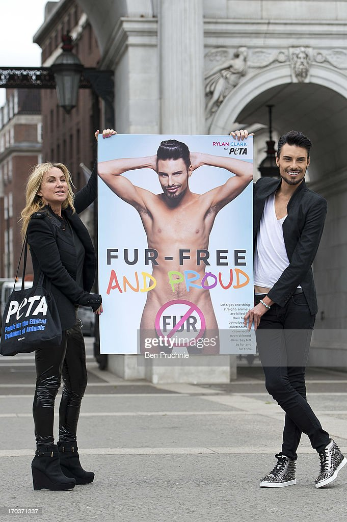 Meg Matthews and Rylan Clark attends a photocall to launch his new anti fur advert in support of PETA at Marble Arch on June 12, 2013 in London, England.