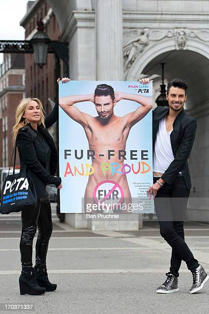 Meg Matthews and Rylan Clark attends a photocall to launch his new anti fur advert in support of PETA at Marble Arch on June 12 2013 in London England