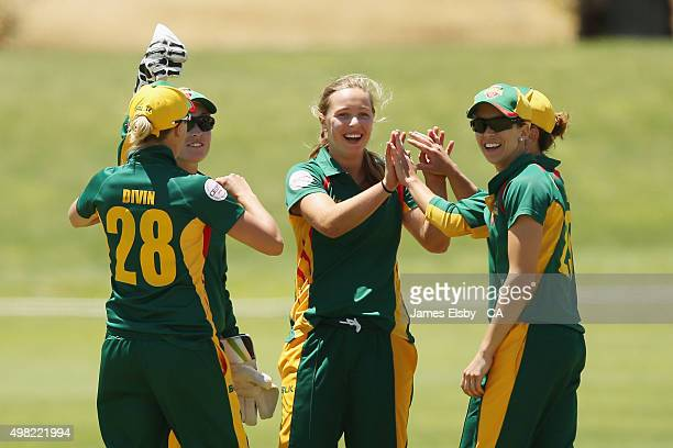 Meg Phillips of the Roar celebrates a wicket during the WNCL match between South Australia and Tasmania at Railways Oval on November 22 2015 in...