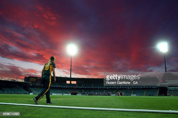 Meg Phillips of the Tasmania Roar fields during the WT20 match between Tasmania and Queensland Aurora Stadium on November 28 2014 in Launceston...