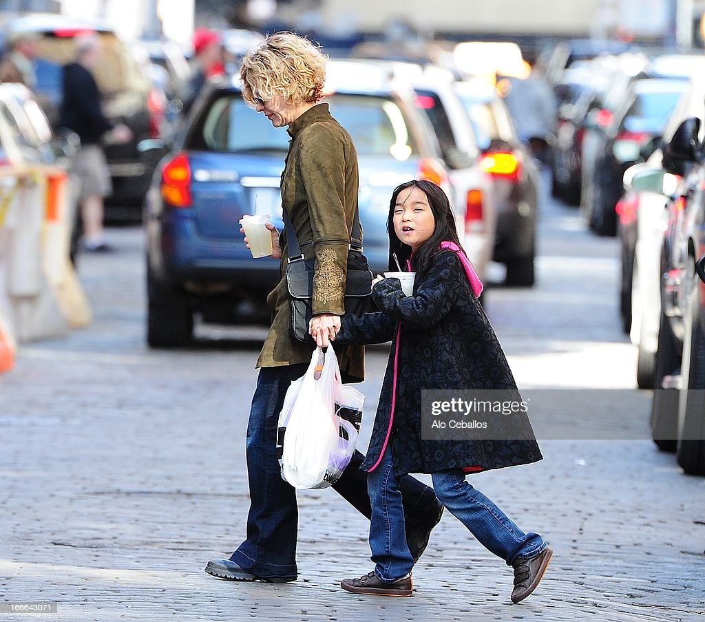 <a gi-track='captionPersonalityLinkClicked' href=/galleries/search?phrase=Meg+Ryan&family=editorial&specificpeople=203107 ng-click='$event.stopPropagation()'>Meg Ryan</a> and Daisy True Ryan are seen in Soho on April 14, 2013 in New York City.