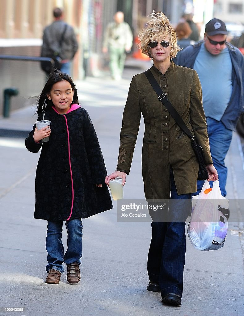 <a gi-track='captionPersonalityLinkClicked' href=/galleries/search?phrase=Meg+Ryan&family=editorial&specificpeople=203107 ng-click='$event.stopPropagation()'>Meg Ryan</a> (R) and Daisy True Ryan are seen in Soho on April 14, 2013 in New York City.