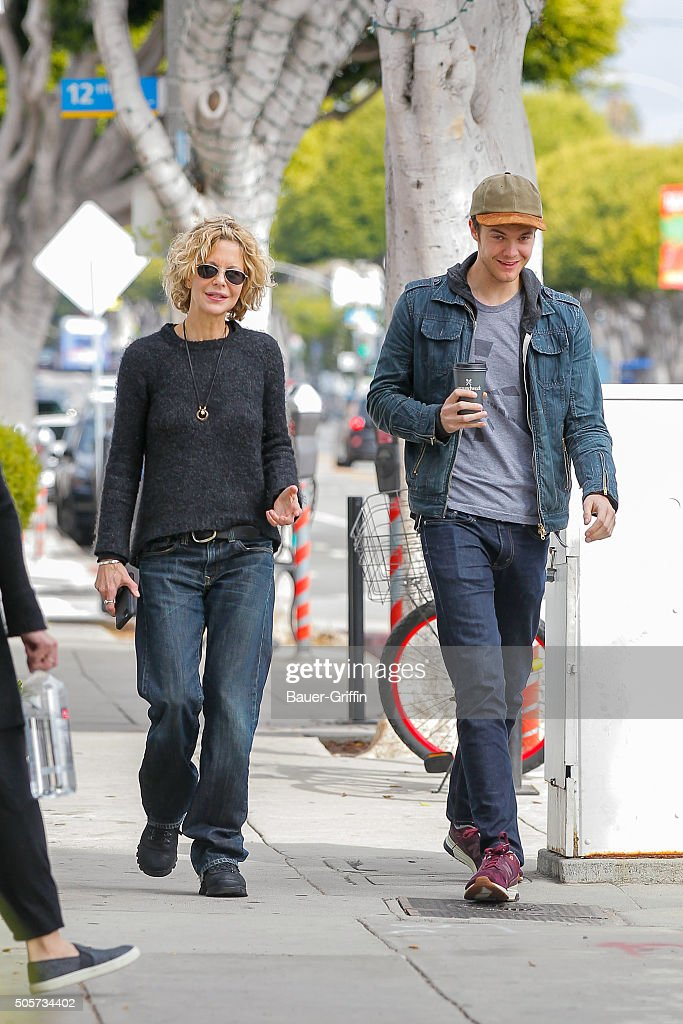 Meg Ryan and son Jack Quaid are seen on January 19 2016 in Los Angeles California