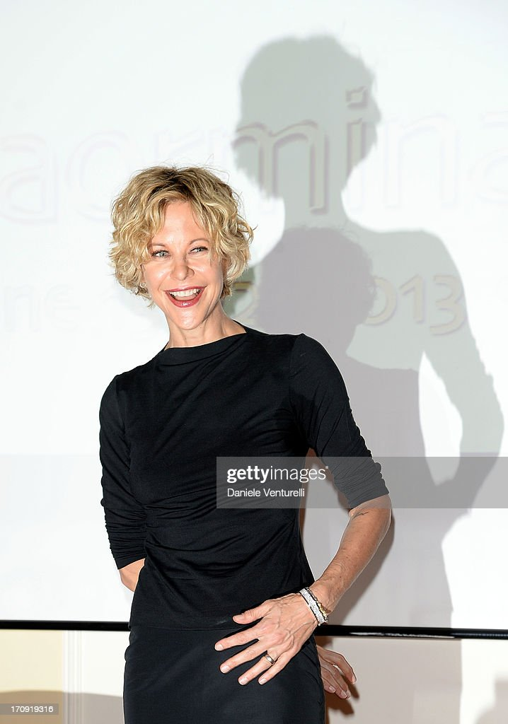 <a gi-track='captionPersonalityLinkClicked' href=/galleries/search?phrase=Meg+Ryan&family=editorial&specificpeople=203107 ng-click='$event.stopPropagation()'>Meg Ryan</a> attends a TaoClass lecture as part of Taormina Filmfest 2013 on June 20, 2013 in Taormina, Italy.