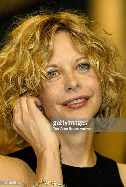 Meg Ryan wearing a DeBeers diamond bracelet during 2003 Cannes Film Festival Closing Ceremony Show at Palais des Festivals in Cannes France