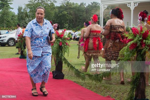 Meg Taylor Secretary General of the Pacific Islands Forum Secretariat and Papua New Guinea diplomat arrives for the opening of 48th Pacific Islands...
