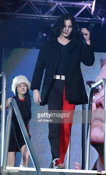 Meg White and Jack White of The White Stripes during MTV Europe Music Awards 2003 Show at Ocean Terminal Arena in Edinburgh Scotland