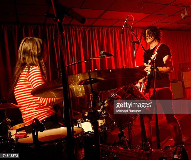 Meg White and Jack White of The White Stripes perform at the 'Icky Thump Record Store' on June 20 2007 in Los Angeles California
