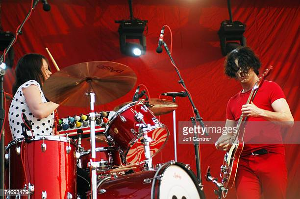Meg White and Jack White of The White Stripes perform during the fourth and final day of the Bonnaroo Music and Arts Festival June 17 2007 in...