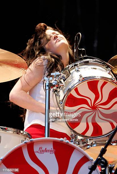 Meg White of The White Stripes during Rock on Scene Festival 2004 The White Stripes in Concert at St Cloud National Forest in Paris France