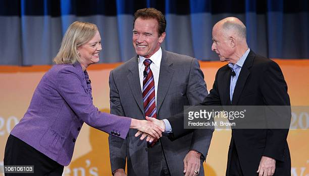 Meg Whitman California Governor Arnold Schwarzenegger and Jerry Brown speak during the Maria Shriver Women's Conference at the Long Beach Convention...