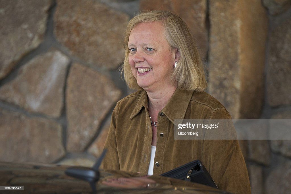 Meg Whitman, chief executive officer of Hewlett-Packard Co., arrives at the Allen & Co. Media and Technology Conference in Sun Valley, Idaho, U.S., on Tuesday, July 10, 2012. Hewlett-Packard Co., which bought Lynch's company last year for $10.3 billion, yesterday took an $8.8 billion writedown and said some former members of Cambridge, England-based Autonomy's management team used accounting improprieties, misrepresentations and disclosure failures to inflate the company's value prior to the deal. Photographer: David Paul Morris/Bloomberg via Getty Images