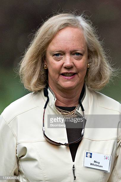 Meg Whitman chief executive officer of HewlettPackard Co arrives for a morning session during the Allen Co Media and Technology Conference in Sun...