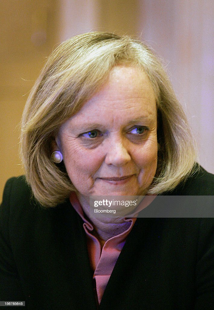 Meg Whitman, chief executive officer of Hewlett-Packard Co., listens during an interview in Las Vegas, Nevada, U.S., on Tuesday, June 5, 2012. Hewlett-Packard Co., which bought Lynch's company last year for $10.3 billion, yesterday took an $8.8 billion writedown and said some former members of Cambridge, England-based Autonomy's management team used accounting improprieties, misrepresentations and disclosure failures to inflate the company's value prior to the deal. Photographer: Ronda Churchill/Bloomberg via Getty Images
