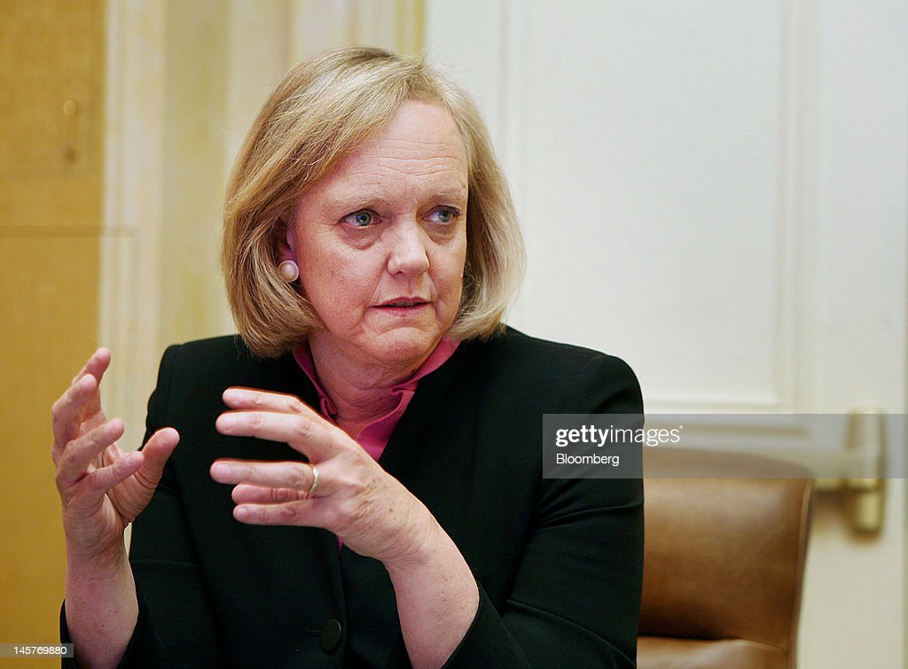 <a gi-track='captionPersonalityLinkClicked' href=/galleries/search?phrase=Meg+Whitman&family=editorial&specificpeople=767663 ng-click='$event.stopPropagation()'>Meg Whitman</a>, chief executive officer of Hewlett-Packard Co., speaks during an interview in Las Vegas, Nevada, U.S., on Tuesday, June 5, 2012. Whitman said after the 'turmoil' from last year's management upheaval, the company is working to differentiate itself with partnerships, a broad product base and an emphasis on engineering. Photographer: Ronda Churchill/Bloomberg via Getty Images