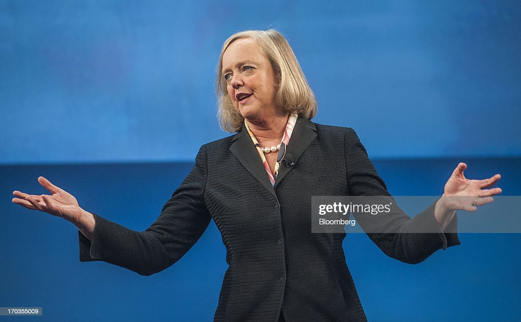 <a gi-track='captionPersonalityLinkClicked' href=/galleries/search?phrase=Meg+Whitman&family=editorial&specificpeople=767663 ng-click='$event.stopPropagation()'>Meg Whitman</a>, chief executive officer of Hewlett-Packard Co., speaks during the HP Discover 2013 conference in Las Vegas, Nevada, U.S., on Tuesday, June 11, 2013. Hewlett-Packard unveiled software that knits together technology from its data-analysis acquisitions, and announced a personal computer deal with Google Inc. as it seeks to boost sales to business customers and counter slumping demand for personal computers. Photographer: Jacob Kepler/Bloomberg via Getty Images