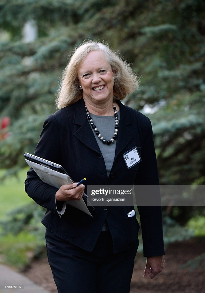 <a gi-track='captionPersonalityLinkClicked' href=/galleries/search?phrase=Meg+Whitman&family=editorial&specificpeople=767663 ng-click='$event.stopPropagation()'>Meg Whitman</a>, president and chief executive officer of Hewlett-Packard, arrives to Allen & Co. annual conference on July 12, 2013 in Sun Valley, Idaho. The resort will host corporate leaders for the 31st annual Allen & Co. media and technology conference where some of the wealthiest and most powerful executives in media, finance, politics and tech gather for a weeklong meetings which begins Tuesday. Past attendees included Warren Buffett, Bill Gates and Mark Zuckerberg.