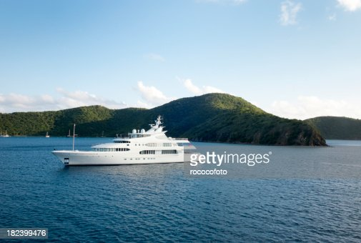 Mega Yacht near island
