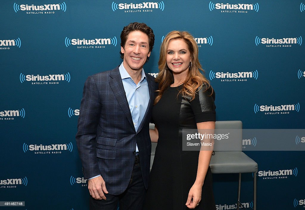 Megachurch pastor Joel Osteen and wife co-pastor Victoria Osteen visit SiriusXM Studios on October 5, 2015 in New York City.