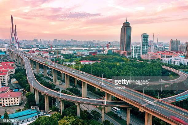 Megacity skyline and Highway in shanghai