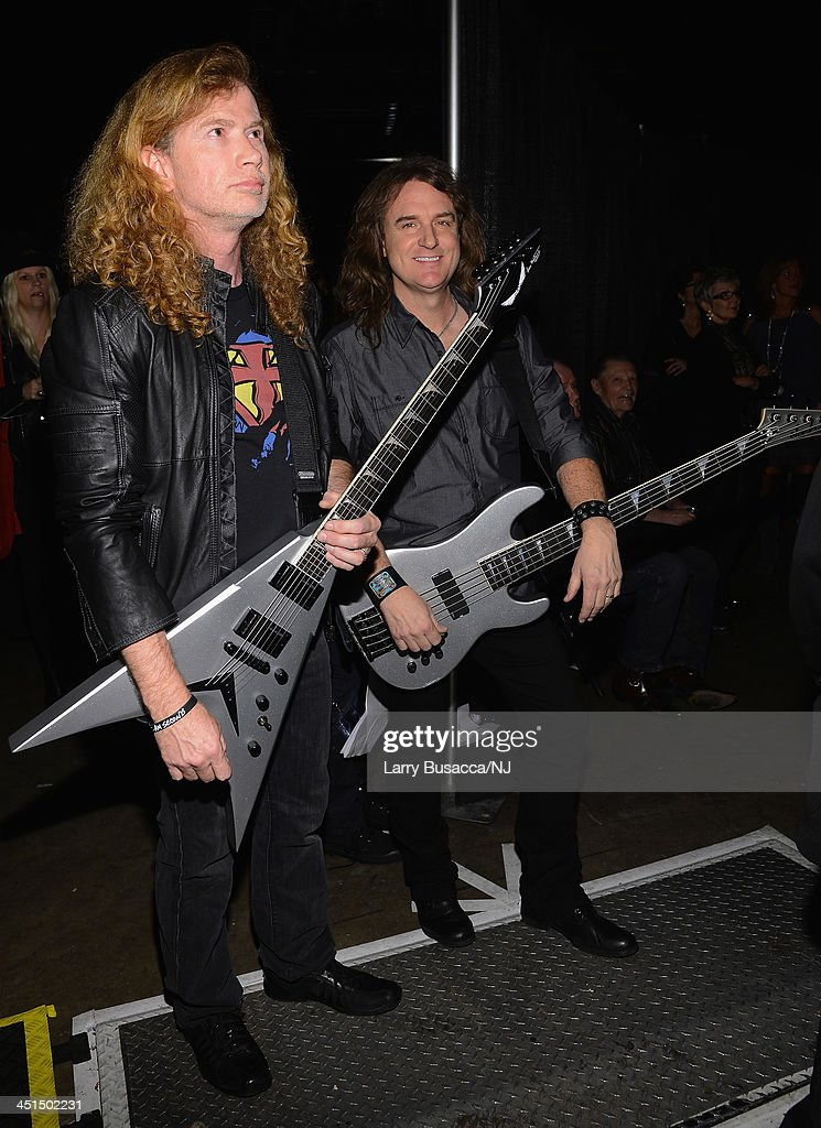 Megadeth backstage during Playin' Possum! The Final No Show Tribute To George Jones at Bridgestone Arena on November 22, 2013 in Nashville, Tennessee.