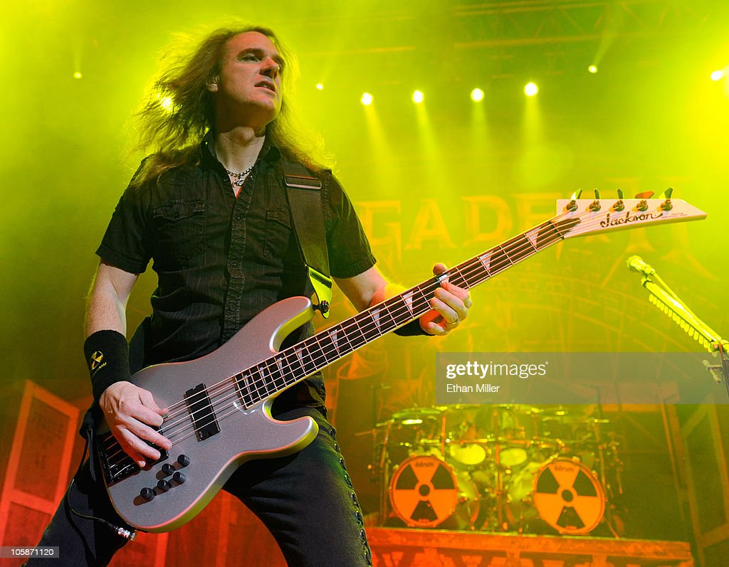 Megadeth bassist David Ellefson performs during the Jagermeister Fall Music Tour at The Pearl concert theater at the Palms Casino Resort October 20...