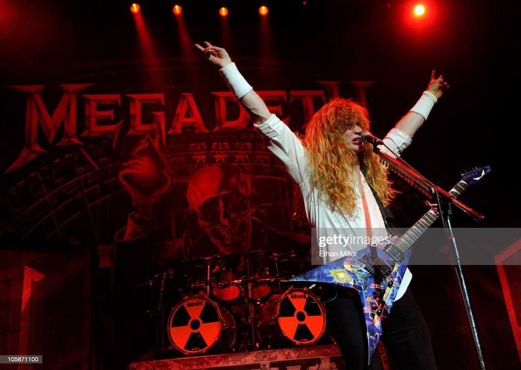 Megadeth frontman Dave Mustaine performs during the Jagermeister Fall Music Tour at The Pearl concert theater at the Palms Casino Resort October 20...